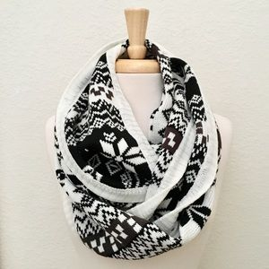 Evelyn K Nordic Print Sweater Knit Infinity Scarf